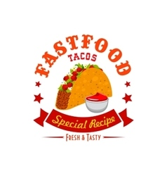 Tacos fast food menu label emblem vector image vector image
