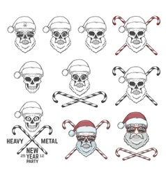 Big set of santa claus skulls with candy cones and vector