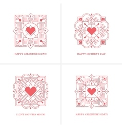 Four red linear heart emblems vector image