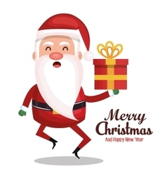 santa claus holding gift merry christmas design vector image vector image