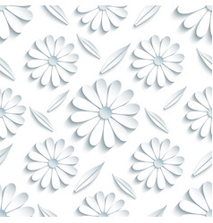 seamless pattern with 3d chamomille and leaf vector image vector image