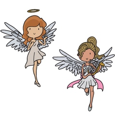 Set of angels vector image vector image