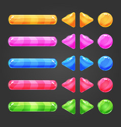 Set of game interface button color vector image