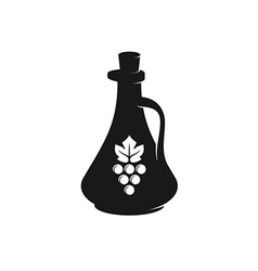 Vinegar bottle black silhouette with grape berries vector image vector image