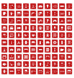 100 furnishing icons set grunge red vector