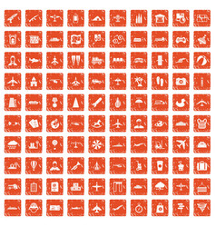 100 plane icons set grunge orange vector