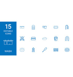15 wash icons vector