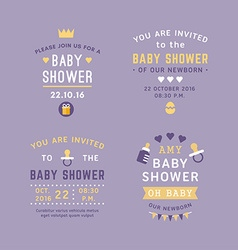 A set of four text labels for baby shower vector image