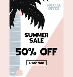 advert card with lettering 50 off summer sale in vector image