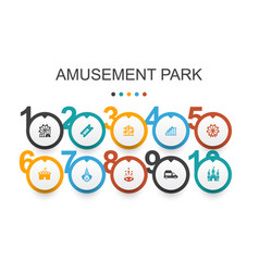 Amusement park infographic design templateferris vector