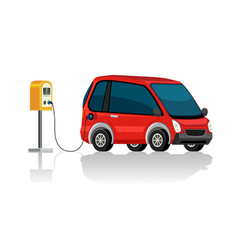an electric car at charging station vector image