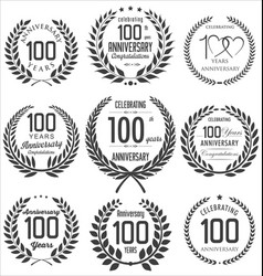 Anniversary laurel wreath collection 100 years vector