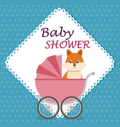 baby shower card with cute fox in cart vector image