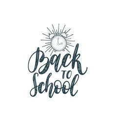 back to school hand lettering on white background vector image