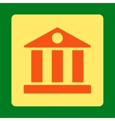 Bank flat orange and yellow colors rounded button vector