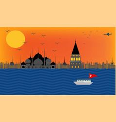beautiful view of turkey embankment istanbul vector image