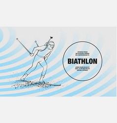 Biathlon man linear silhouette skiing vector