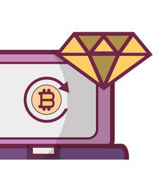 bitcoin computer icon vector image