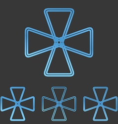 Blue line mechanics logo design set vector