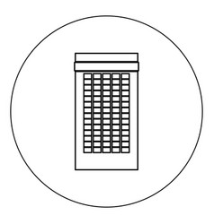building icon black color in circle isolated vector image