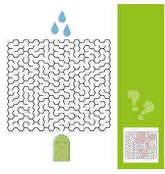 cactus and water maze game for younger kids with a vector image