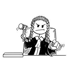 Cartoon of judge with gavel pointing his finger vector