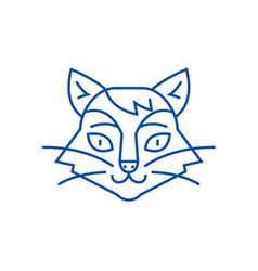 cat head line icon concept cat head flat vector image