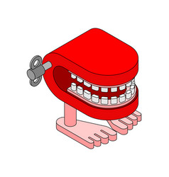Chatter teeth toy april fools day symbol jaw toy vector