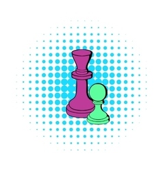 Chess king and chess pawn icon comics style vector