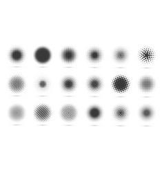 Circle halftone set modern dotted circles vector