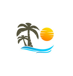 coconut tree and sun logo vector image