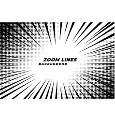 comic zoom lines motion background with halftone vector image