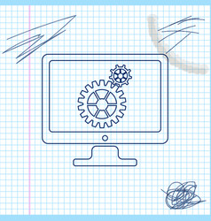 computer monitor and gears line sketch icon vector image