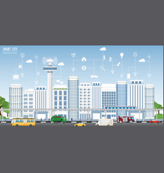 concept of smart city on urban landscape vector image