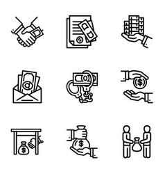 Corruption icon set outline style vector