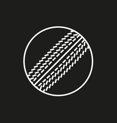 Cricket ball icon on black background vector