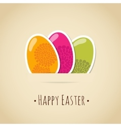 Cute easter card with painted eggs floral design vector image