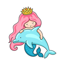 Cute little mermaid with wavy long pink hair and vector