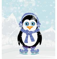 cute penguin ice skates vector image