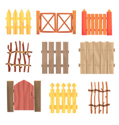 Different garden wooden fences and gates set vector