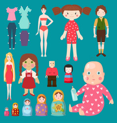 dolls toy character girls and boys human vector image