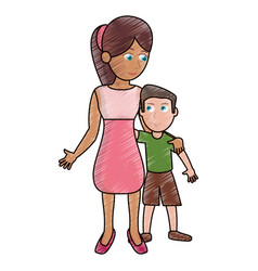 Drawing mother hugging son lovely vector