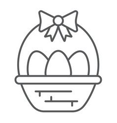 easter eggs in basket thin line icon decoration vector image