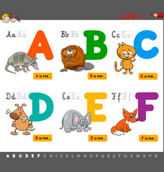 Educational cartoon alphabet letters for learning vector