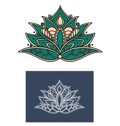 Emerald paisley flower with shaped petals vector image