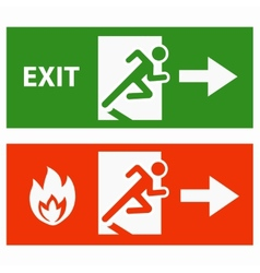 Emergency fire exit door vector
