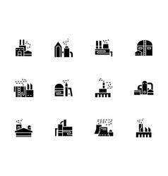 factories and plants black glyph icons vector image
