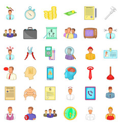 finance icons set cartoon style vector image