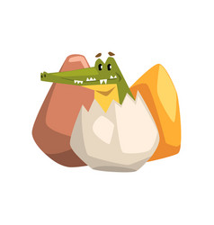 friendly crocodile hatching from an egg funny vector image
