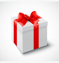 Gift box with red ribbon vector image